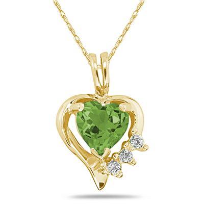Heart Shape Peridot & Diamond Pendant in 10k Yellow Gold