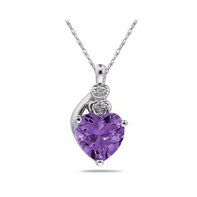 Amethyst  & Diamond Heart Pendant in White Gold