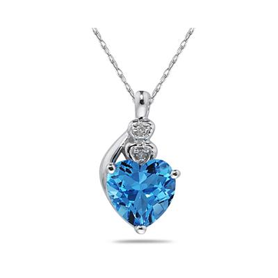 Blue Topaz & Diamond Heart Pendant in White Gold