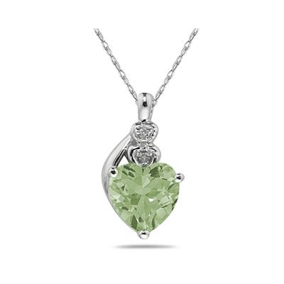 Green Amethyst  & Diamond Heart Pendant in White Gold