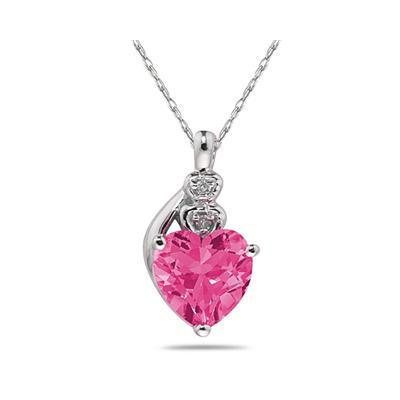 Pink  Topaz & Diamond Heart Pendant in White Gold