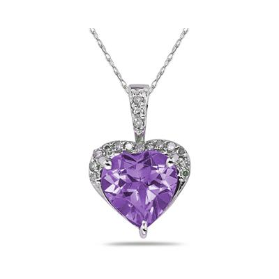 Amethyst  & Dimaond Heart Pendant in White Gold