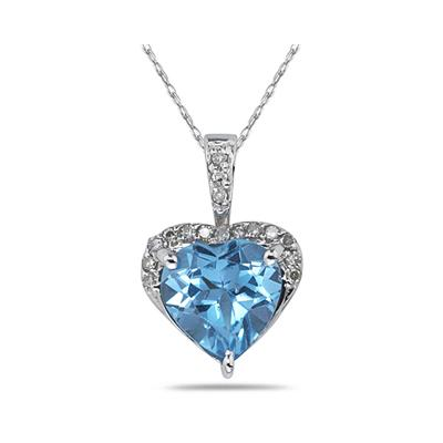 Blue Topaz & Dimaond Heart Pendant in White Gold