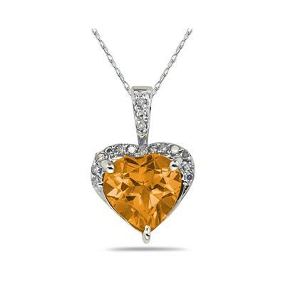 Citrine   & Dimaond Heart Pendant in White Gold