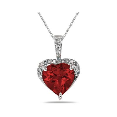 Garnet  & Dimaond Heart Pendant in White Gold
