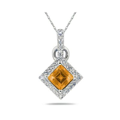 Princess Cut Citrine  & Diamond Pendant in 14K White Gold