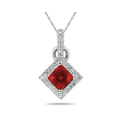 Princess Cut Garnet & Diamond Pendant in 14K White Gold