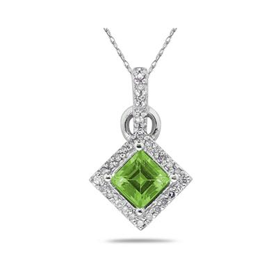 Princess Cut Peridot & Diamond Pendant in 14K White Gold