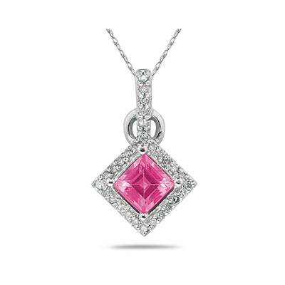 Princess Cut Pink  Topaz & Diamond Pendant in 14K White Gold