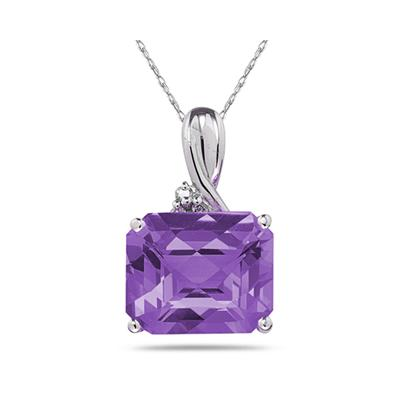 7.60CT Emerald Cut Amethyst & Diamond Pendant in White Gold