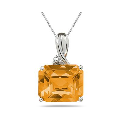 7.60CT Emerald Cut Citrine  & Diamond Pendant in White Gold