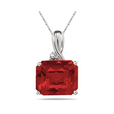 7.60CT Emerald Cut Garnet & Diamond Pendant in White Gold