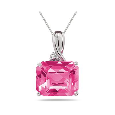 7.60CT Emerald Cut  Pink  Topaz & Diamond Pendant in White Gold