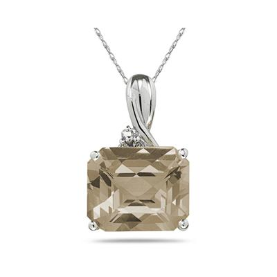 7.60CT Emerald Cut Smokey Quartz   & Diamond Pendant in White Gold