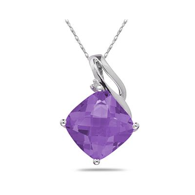 Amethyst & Diamond Swirl Pendant in 10K White Gold