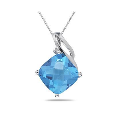 Blue Topaz & Diamond Swirl Pendant in 14K White Gold