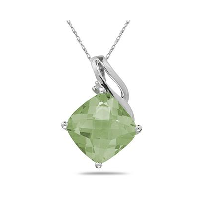Green Amethyst  & Diamond Swirl Pendant in 14K White Gold