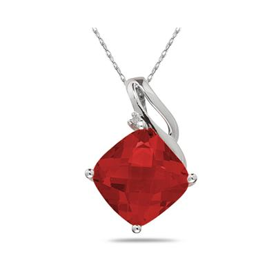 Garnet & Diamond Swirl Pendant in 10K White Gold