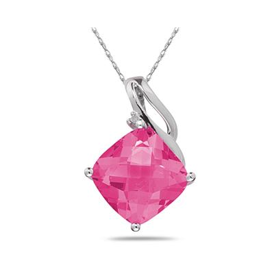 Pink Topaz & Diamond Swirl Pendant in 14K White Gold