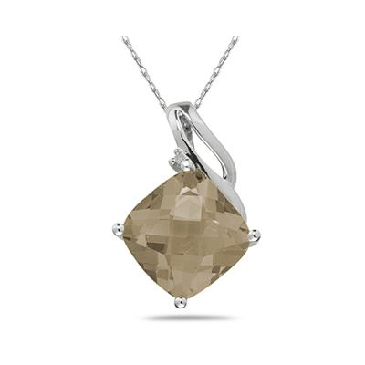 Smokey Quartz   & Diamond Swirl Pendant in 14K White Gold