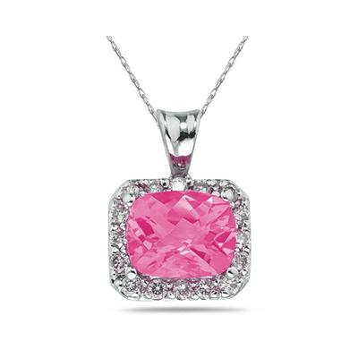4.70 Carat Pink  Topaz and Diamond Pendant in 14K White Gold