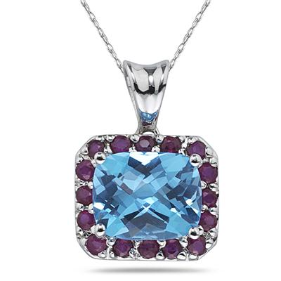 Blue Topaz & Ruby Pendant in 14K White Gold