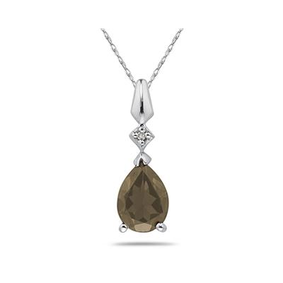 Pear Shaped Smokey Quartz  & Diamond Pendant in White Gold