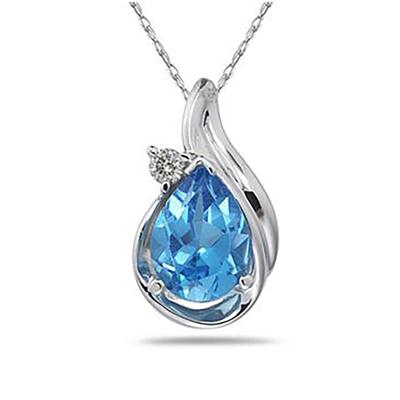 Pear Shaped Blue Topaz and Diamonds Raindrop Pendant in White Gold