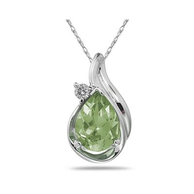 Pear Shaped Green  Amethyst  and Diamonds Raindrop Pendant in White Gold