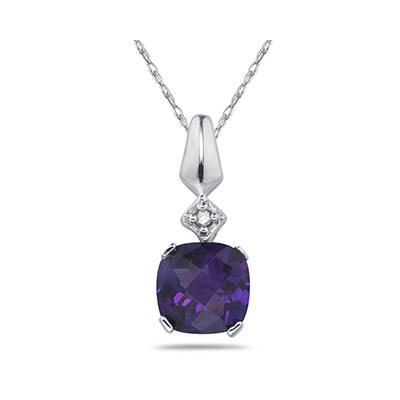 1CT Amethyst & Diamond Pendant in White Gold