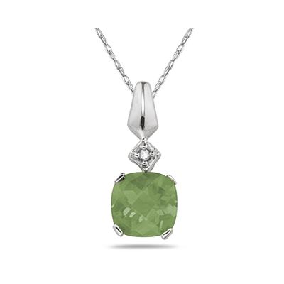 1CT Green  Amethyst & Diamond Pendant in White Gold