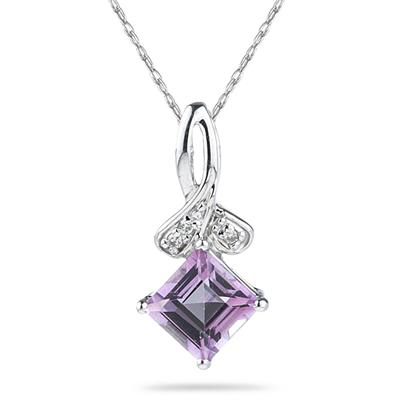 1.15ct Princess Cut Pink Topaz & Diamonds Pendant in White Gold