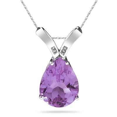 10.25ct Pear Shaped  Amethyst  & Diamond Pendant in 10K White Gold