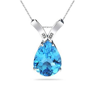 10 1/4 Carat Pear Shaped Blue Topaz & Diamond Pendant in 10K White Gold