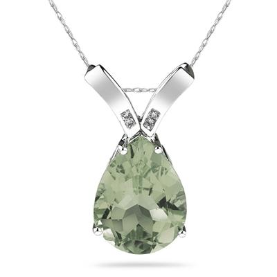 10.25ct Pear Shaped  Green Amethyst  & Diamond Pendant in 10K White Gold