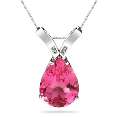 10 1/4 Carat Pear Shaped Pink Topaz & Diamond Pendant in 10K White Gold