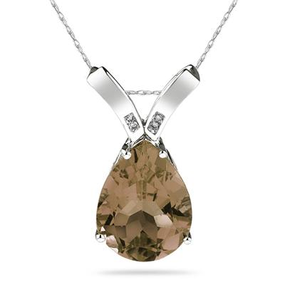 10.25ct Pear Shaped Smokey Quartz & Diamond Pendant in 10K White Gold