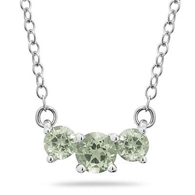 1.00 CTW Green Amethyst Three Stone Pendant Necklace 14K White Gold