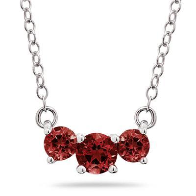 1.00 CTW Garnet Three Stone Pendant Necklace 14K White Gold