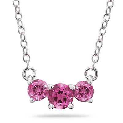 1.00 CTW Pink Topaz Three Stone Pendant Necklace 14K White Gold