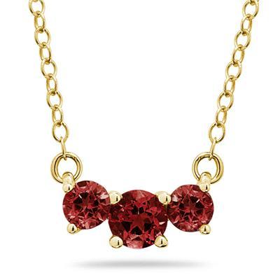 1.00 CTW Garnet Three Stone Pendant Necklace 14K Yellow Gold