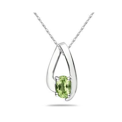 August Birthstone:  Peridot Loop Pendant Necklace 10K White Gold