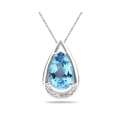 Pear Shaped Blue Topaz and Diamond Raindrop Pendant in White Gold