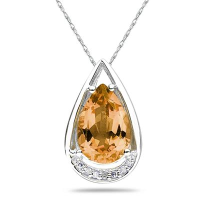 Pear Shaped Citrine and Diamond Raindrop Pendant in White Gold