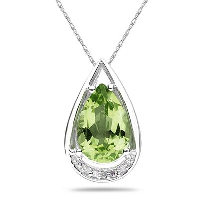 Pear Shaped Peridot and Diamond Raindrop Pendant in White Gold