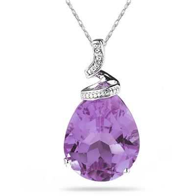 5 Carat Pear Shaped Amethyst  & Diamond Pendant in 10K White Gold