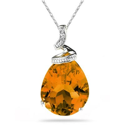 10.25ct Pear Shaped  Citrine   & Diamond Pendant in 10K White Gold