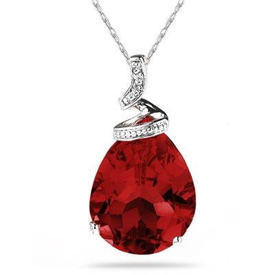 5 Carat Pear Shaped Garnet & Diamond Pendant in 10K White Gold