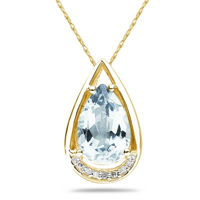 Pear Shaped Aquamarine and Diamond Raindrop Pendant in Yellow Gold