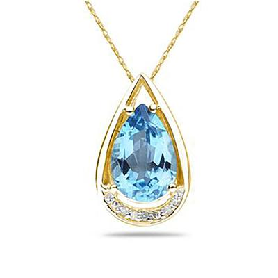 Pear Shaped Blue Topaz and Diamonds Raindrop Pendant in  Yellow  Gold